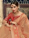 photo of Jacquard Work Art Silk Fabric Salmon Color Fancy Embellished Saree