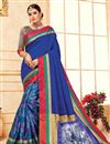 image of Blue Fancy Designer Festive Wear Art Silk Saree With Digital Print Work