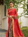 image of Festive Wear Fancy Art Silk Designer Digitally Printed Saree In Red