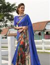 image of Festive Wear Art Silk Designer Digitally Printed Blue Fancy Saree