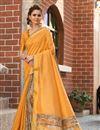 image of Art Silk Fancy Designer Festive Wear Mustard Color Saree With Digital Print Work