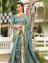 image of Festive Wear Fancy Art Silk Designer Digitally Printed Saree In Cyan