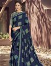 image of Festive Wear Fancy Georgette Fabric Designer Digitally Printed Saree In Navy Blue