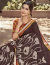photo of Fancy Brown Designer Festive Wear Georgette Fabric Saree With Digital Print Work