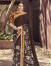 image of Fancy Brown Designer Festive Wear Georgette Fabric Saree With Digital Print Work