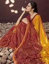 photo of Orange Designer Party Wear Printed Saree In Georgette Fabric