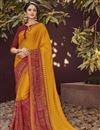 image of Orange Designer Party Wear Printed Saree In Georgette Fabric