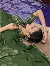 photo of Dark Green Georgette Fabric Occasion Wear Printed Saree
