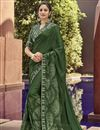 image of Dark Green Georgette Fabric Occasion Wear Printed Saree