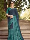 image of Function Wear Navy Blue Printed Saree In Georgette Fabric