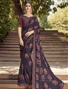 image of Fancy Navy Blue Color Georgette Fabric Daily Wear Printed Saree