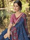 photo of Navy Blue Georgette Fabric Designer Wedding Wear Printed Saree