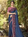 image of Navy Blue Georgette Fabric Designer Wedding Wear Printed Saree