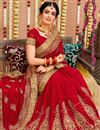 photo of Red Color Georgette Fabric Sangeet Wear Saree With Embroidery Work And Blouse