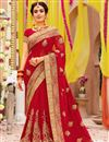 image of Red Color Georgette Fabric Sangeet Wear Saree With Embroidery Work And Blouse