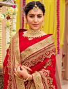 photo of Georgette Fabric Designer Saree With Embroidery Work On Red Color