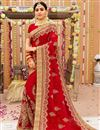 image of Georgette Fabric Designer Saree With Embroidery Work On Red Color