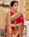 photo of Embroidered Wedding Wear Saree In Georgette Fabric Red Color With Attractive Blouse