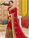 image of Embroidered Wedding Wear Saree In Georgette Fabric Red Color With Attractive Blouse