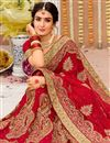 photo of Embroidery Work On Red Color Fancy Saree In Georgette Fabric With Designer Blouse