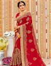image of Embroidery Work On Red Color Fancy Saree In Georgette Fabric With Designer Blouse
