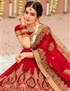 photo of Embroidery Work On Red Color Georgette Party Wear Saree With Enticing Blouse