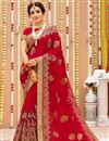 image of Embroidery Work On Red Color Georgette Party Wear Saree With Enticing Blouse