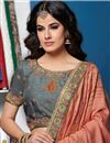 photo of Salmon Color Traditional Saree In Art Silk Fabric With Embroidery Work
