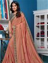 image of Salmon Color Traditional Saree In Art Silk Fabric With Embroidery Work