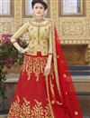 image of Wedding Wear Lehenga In Art Silk Fabric Red Color With Embroidery Work