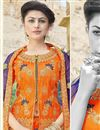 photo of Embroidered Art Silk Fabric Orange Color Festive Wear Lehenga With Embroidery Work