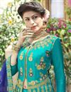 photo of Art Silk Fabric Cyan Color Festive Wear Embroidered Chaniya Choli With Beautiful Blouse