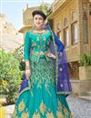 image of Art Silk Fabric Cyan Color Festive Wear Embroidered Chaniya Choli With Beautiful Blouse