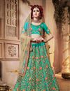 image of Turquoise Color Party Wear Lehenga Choli In Satin Silk Fabric With Embroidery Work