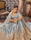 photo of Embroidered Art Silk Fabric Wedding Wear Designer 3 Piece Lehnega Choli In Grey
