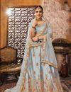 image of Embroidered Art Silk Fabric Wedding Wear Designer 3 Piece Lehnega Choli In Grey
