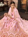 photo of Pink Bridal Wear Designer Art Silk Fabric Lehnega With Embroidery Design