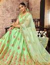 photo of Embroidered Art Silk Fabric Wedding Wear Designer 3 Piece Lehnega Choli In Sea Green