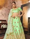 image of Embroidered Art Silk Fabric Wedding Wear Designer 3 Piece Lehnega Choli In Sea Green