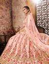 photo of Designer Art Silk Fabric Bridal Wear Embroidered Peach Lehenga Choli