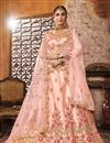 image of Designer Art Silk Fabric Bridal Wear Embroidered Peach Lehenga Choli
