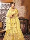 image of Bridal Wear Designer Art Silk Fabric Yellow Lehenga Choli With Embroidery Work