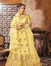 image of Fascinating Yellow Wedding Wear Designer Art Silk Fabric Bridal Lehenga Choli