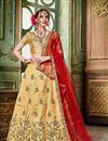 image of Wedding Wear Art Silk Fabric Fancy Beige Lehenga Choli
