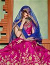 photo of Designer Art Silk Fabric Magenta Wedding Wear 3 Piece Embroidered Lehenga Choli