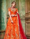image of Art Silk Fabric Attractively Embroidered Designer Lehenga Choli In Orange