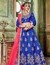 image of Artistically Embroidered Art Silk Fabric Designer Blue Lehnega Choli