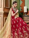 photo of Red Festive Wear Art Silk Fabric Embroidered 3 Piece Wedding Wear Lehenga Choli