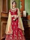image of Red Festive Wear Art Silk Fabric Embroidered 3 Piece Wedding Wear Lehenga Choli