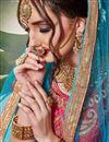 photo of Artistically Embroidered Art Silk Fabric Designer Pink Lehnega Choli